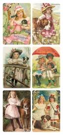 Nostalgische kindjes met hond poezieplaatjes Stickers Y188