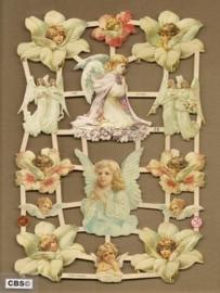 Engelen in bloemen en knielend poezieplaatjes 7348