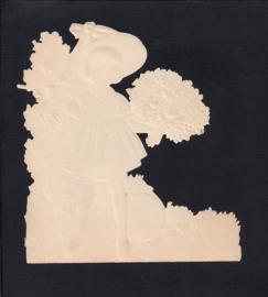 Meisje met bal antiek poezieplaatje(155)