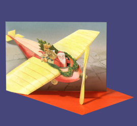 Mini 3D geschenk kaart: Kerstman in vliegtuig [XG-5494]