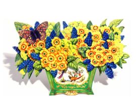 3D Bloemenbak kaart: Blauwe druifjes en Primula´s [EC-5015]
