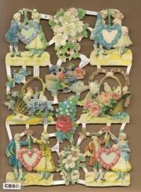 Stelletjes met bloemharten en manden poezieplaatjes 7177