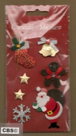 Kerststickers met glinsters en Koekemannetje
