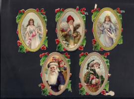 Kerst met goud en dennentakken (5) antieke poezieplaatje