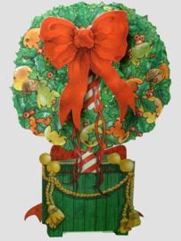Die-cut Kerst kaart: Boom met fruit [XC-3466]