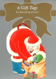 6 Gift Tags: Kerstman zoekt cadeau's [XT-1234/6]