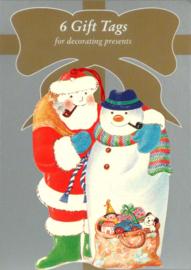 6 Gift Tags: Kerstman met sneeuwpop [XT-1236/6]