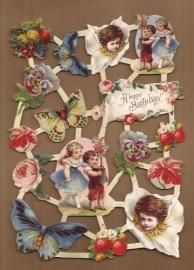 Kinderen met bloemen ouderwets poezieplaatjes LN61
