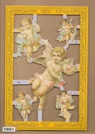 Baby engelen met bloemenlint poezieplaatjes A 60