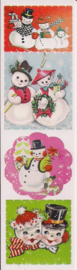 Vintage Kerst poezieplaatjes Stickers Strip QT35