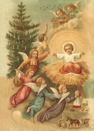Engelen vieren geboorte Kindje Jezus Reliefkaart EF 3018