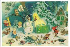 Adventskalender Kaart: Kabouter Kerst met de sneeuwpop - 12406