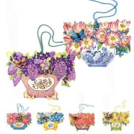 Cadeaulabels 3D Bloemenmanden met vlinder 6 stuks