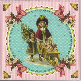 12443 Adventkalender Kaart: Nostalgische Kerst kindjes