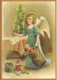 Engel legt cadeautjes bij kerstboom Glitter prentbriefkaart [SV 6Wg024]