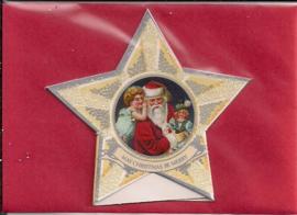 Mini geschenk kaart Kerst in ster: Gefluisterde kerstwensen [XG-3136]