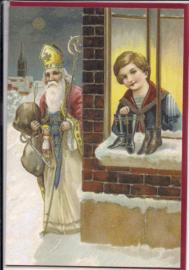 Sinterklaas komt schoentjes vullen dubbele kaart met glitter [SV U136]