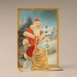 Cascade uitklapkaart: Kerstman met cadeautjes