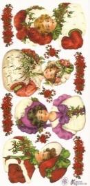 Kerstdames met hulst & mistletoe poezieplaatjes Stickers P26