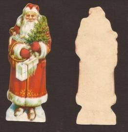 Kerstman 10 centimeter antiek poezieplaatje