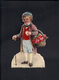 Jongetje met bloemenman antiek poezieplaatje met zijde  (132)
