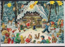 Adventskalender Kaart: Kinderen voor de stal - 12290