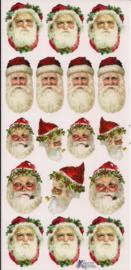 Kerstmannen kopjes poezieplaatjes Stickers P76