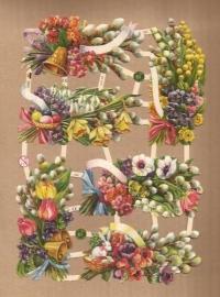 Vrolijke kleuren boeketjes poezieplaatjes 7369