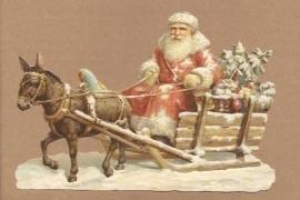 Kerstman op oude slee poezieplaatjes 5129