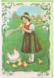 Meisje met paaskippen dubbele kaart [SV U116]