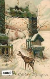 Hertje in de sneeuw - oude nieuwjaarskaart met relief [10139]