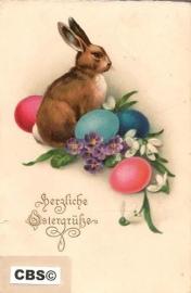 Paaskonijn met eieren - oude Paaskaart [10263]