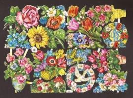 3027 EAS Feestelijke bloemen oude poezieplaatjes
