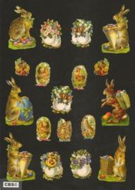 Poezieplaatjes los Paashaas met bloemgevulde eieren 7256