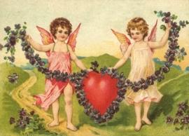 Liefdes Engelen met viooltjes Reliefkaart EF 3027