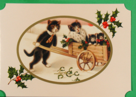 Christmas Catland kaart: Familie kat in kruiwagen [XC-3124]