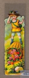 Nostalgische boeklegger kind met bloemmand (poëzieplaatjes)