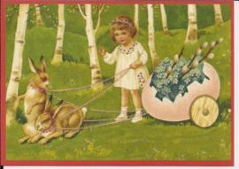 Paashaasjes kar met bloemen Glitter prentbriefkaart [SV 6Gg059]