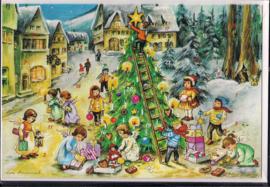 Adventskalender Kaart: Kinderen versieren kerstboom - 12292