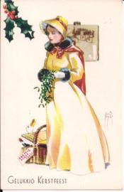 Gelukkig Kerstfeest - jonge dame met mand [14237]