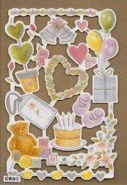 F3011: Feest bruiloft geboorte poezieplaatjes met parelmoerfolie