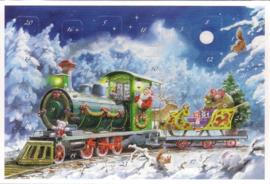 Adventskalender Kaart: Kerstman met trein vol geschenken - 12411