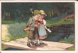 Oude Litho: jager met meisje op een brugje