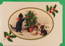 Christmas Catland kaart: Familie kat met kerstboom [XC-3121]
