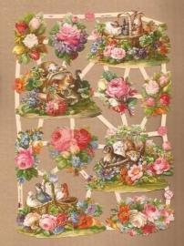 Mandjes met dieren in bloemen poezieplaatjes 7391