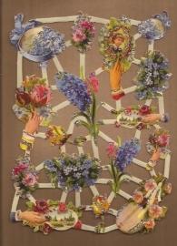 Glitter: Nostalgische bloemen poezieplaatjes LN67