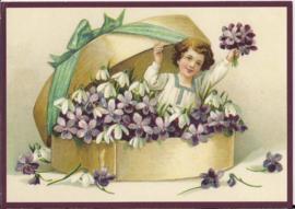 Meisje met viooltjes  Glitter prentbriefkaart [SV 6gg060]