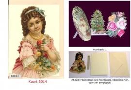 Sierkaart 5014: Meisje met bloemen Poezieplaatjes