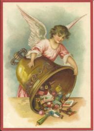 Engel met kerstklok vol cadeautjes Glitter prentbriefkaart [SV 6Wg056]