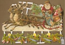 Kerstman op slee met rendieren poezieplaatjes 7194